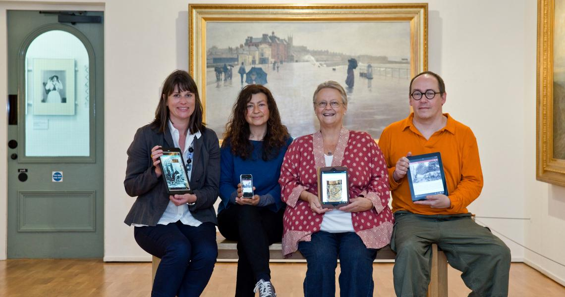 awen directors Nick Harpley and Barbara Santi with former director of Penlee House, Louise Connell and Linda Collins, project volunteer